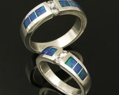 Australian opal wedding ring set with white sapphires in sterling silver