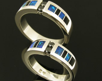 Black diamond sterling wedding set inlaid with onyx and opal.
