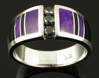 Black Diamond Wedding Ring With Sugilite and Black Onyx- Sugilite Wedding Ring - Black Onyx Wedding Ring - Unique Wedding Ring