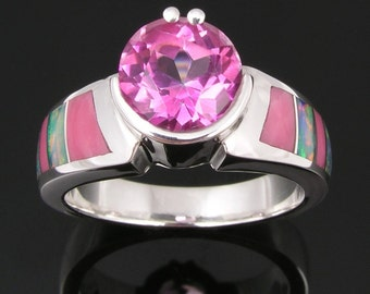 Australian opal inlay ring with pink topaz in sterling silver