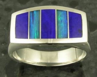 Australian Opal and Lapis Ring in Sterling Silver by Hileman Silver Jewelry, Opal Man's Ring, Lapis Ring in Silver