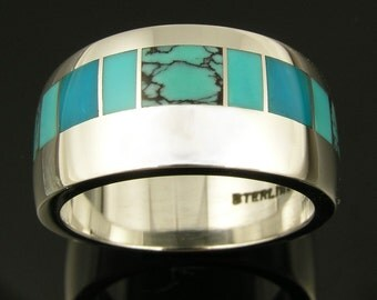 Turquoise Wedding Ring in Sterling Silver, Turquoise Wedding Band, Turquoise Ring with Spiderweb Turquoise and Gem Silica
