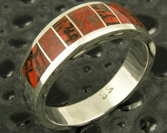 Man's Dinosaur Bone Ring Handcrafted in Sterling Silver by Hileman Silver Jewelry