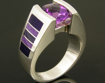 Inlaid Sugilite and Amethyst Sterling Silver Ring by Hileman Silver Jewelry