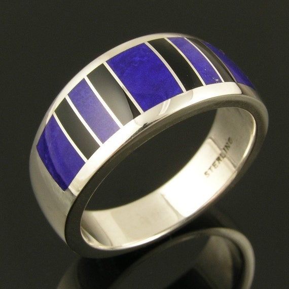 Man's Lapis and Black Onyx Ring in Sterling Silver