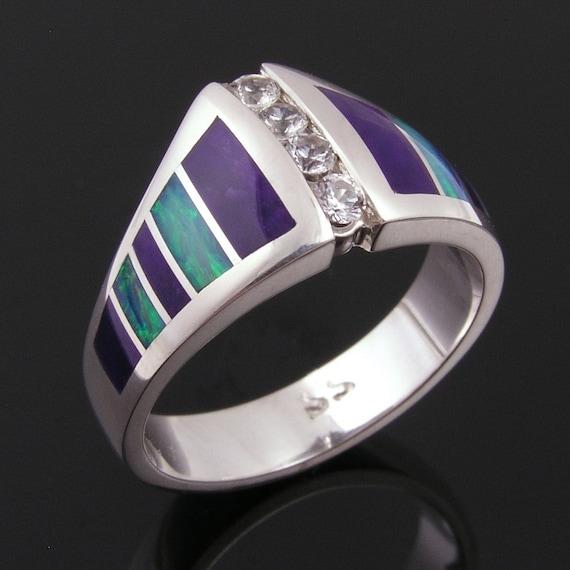 Australian Wedding Rings Australian Opal Engagement Ring Sugilite Wedding Ring White