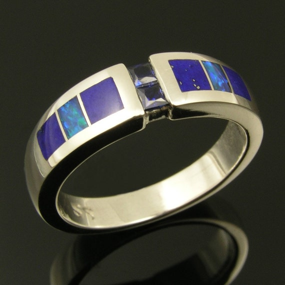 Blue sapphire sterling silver ring inlaid with lapis and opal.