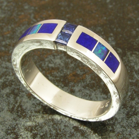 Australian Opal Wedding Ring With Lapis And Blue Sapphires