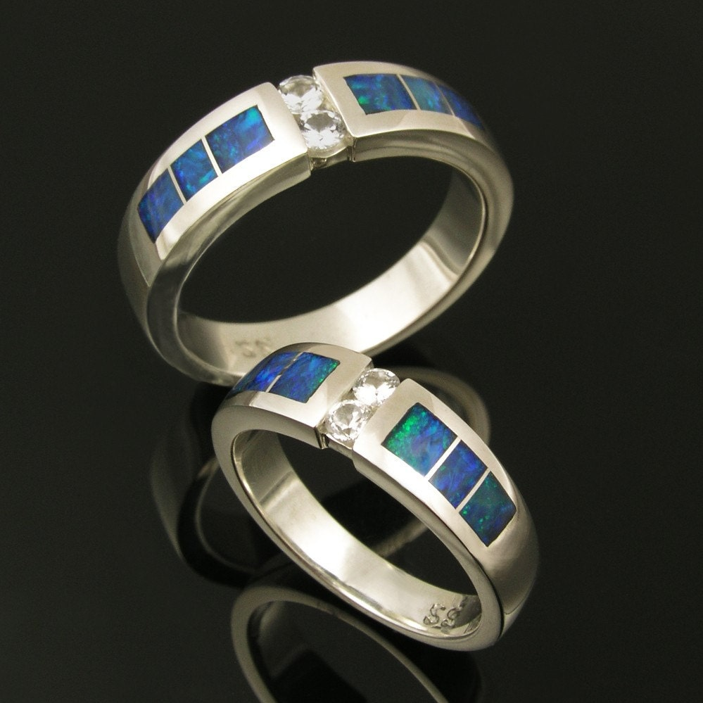 Australian opal wedding ring set with white sapphires in for Australian wedding rings