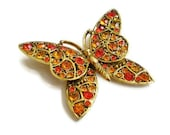 Vintage Brooch Orange Hollycraft Butterfly