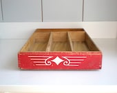 Vintage Red Wooden Cutlery Divided Box