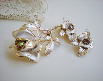 Vintage Exquisite Florenza Brooch and Earrings