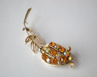 Vintage Coro Pegasus Topaz Large Flower Brooch