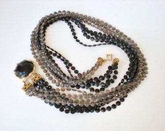 Vintage Black Gray Multi Strand Necklace
