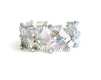 Vintage Bracelet Rhinestone Coro Pegasus Blue Flash