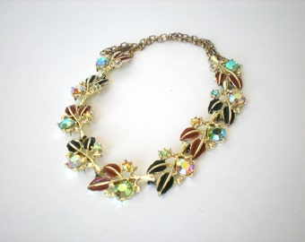 Vintage Signed Tara Pastel Rhinestone Necklace