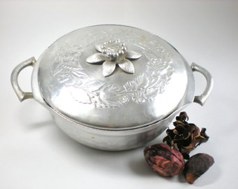 Vintage Forged Aluminum Lidded Bowl