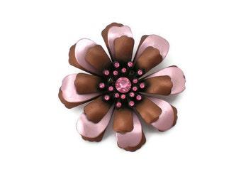 Vintage Pink and Brown Metallic Flower Brooch