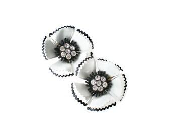 Vintage Black and White Rhinestone Flower Earrings