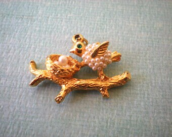 Vintage Bird and Nest Pearly Pendant