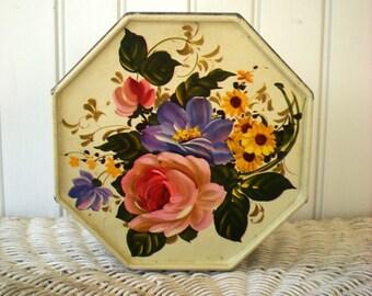 Shabby Floral Octagonal Tin