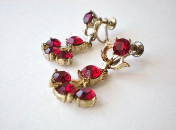 Vintage Coro Ruby Red Earrings