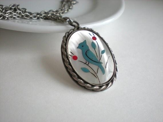 Vintage Spring Blue Jay Necklace