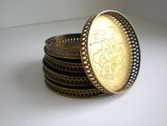 Vintage Brass Etched Coasters