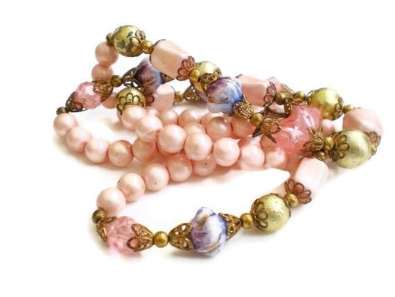 Vintage Pink Lavender Beaded Necklace