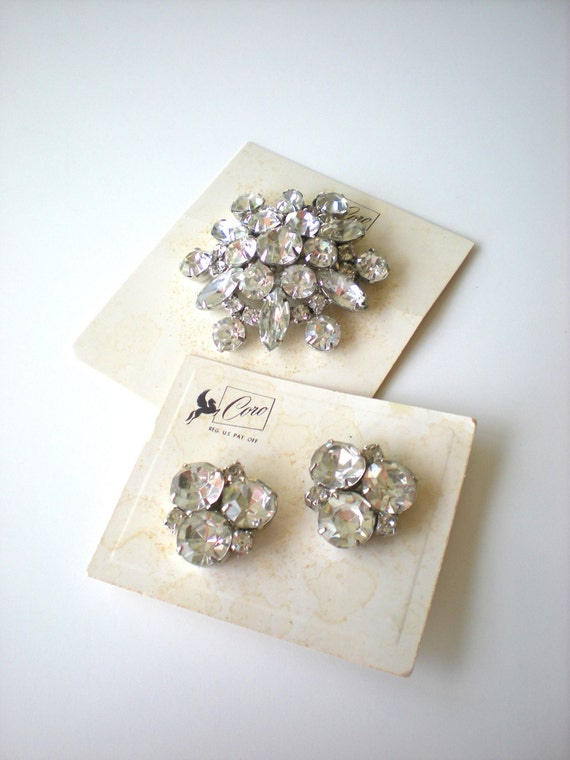 Vintage Coro Rhinestone Brooch and Scatter Pin Trio