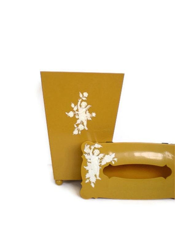 Vintage Gold Cherub Basket and Tissue Set
