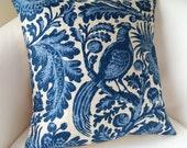Indigo Blue Peacock Pillow Cover 16 Inch