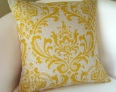 Decorative Pillow Cover Yellow on Linen Color, Accent Pillow, Throw Pillow, Cushion Damask Yellow Pillow 18 or 20 Inches