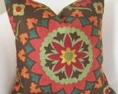 Suzani Pillow Decorative Throw Pillow Cover Brown Red Orange Pillow Cushion Accent Pillow