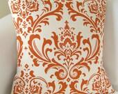 Orange Pillow Cover Damask Decorative Pillow Accent Throw Cushion