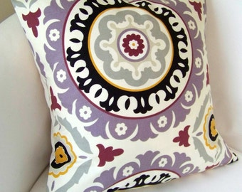 Purple Pillow Cover Decorative Throw Pillow Suzani Pillow Cushion  Accent Pillow