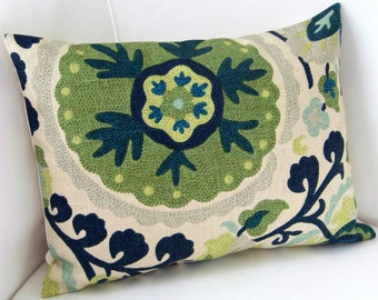 Suzani Pillow Cover Blue Green Pillow Lumbar Pillow Throw Pillow Cushion