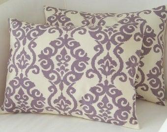 Lilac Purple Pillow Covers Set of Two Lumbar Pillows Decorative Pillow Accent Cushion Throw