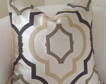 Brown Pillow Cover Neutral Pillow Throw Pillow Trellis Pillow Decorative Pillows Accent Cushion