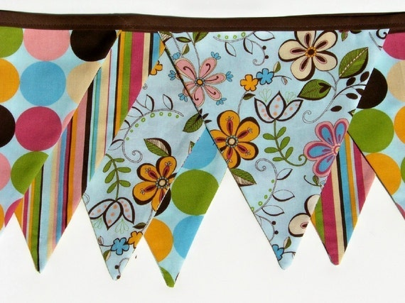 Happy All Over Fabric Banner Bunting Flags