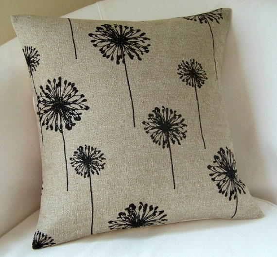 Decorative Pillow Cover 16 x16 Inch Black Accent Pillow Throw Cushion Dandelions