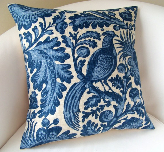Decorative Throw Pillow Cover Indigo Blue Pillow Peacock 18x18 Inch Cushion Accent Throw