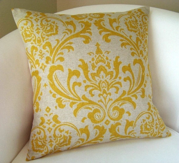 Throw Pillow Covers Yellow : Decorative Pillow Cover Yellow on Linen Color Accent Pillow