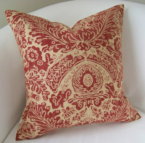 Batik Red Decorative Throw Pillow Cover 18x18 Inch Accent Cushion