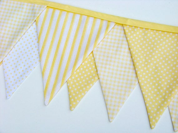Yellow Banner Baby Nursery Bunting Banner Fabric Birthday Banner Flags Ticking Gingham Polka Dots