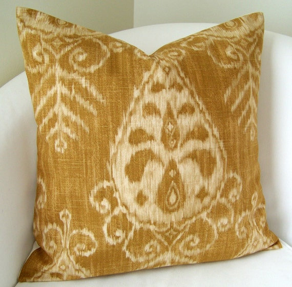 Decorative Throw Pillow Cover Gold Ikat Pillow 20x20 Inch