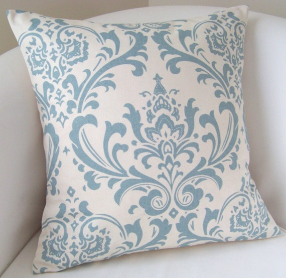 Decorative Pillow Cover 18 x 18 Inch Cottage Blue Damask Accent Cushion Throw
