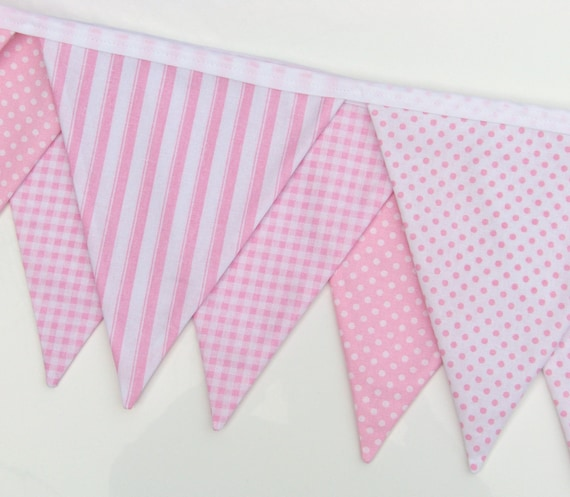 Pink Bunting Banner Fabric Banner Baby Bunting Birthday Banner Flags