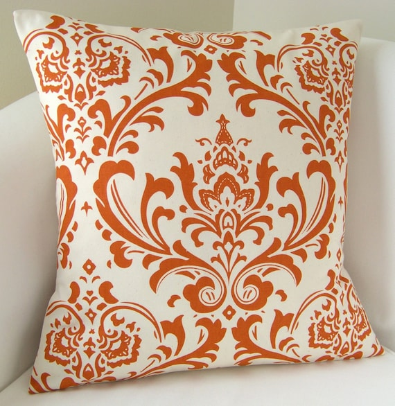 Orange Pillow Cover Damask Decorative Pillow Accent Throw Cushion