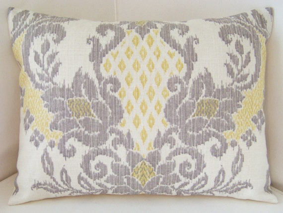 Yellow Gray Pillow Cover Ikat Pillow Throw Accent Cushion Lumbar Pillow Damask Pillow